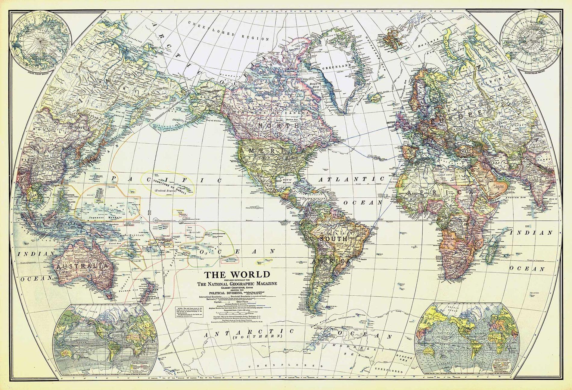Diese Weltkarte aus dem Jahr 1922 war die erste Übersichtskarte aus der eigenen Kartografieabteilung des National ...