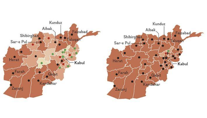 Die Karte vermittelt einen Eindruck von der Geschwindigkeit, mit der die Taliban das Land unter ihre ...