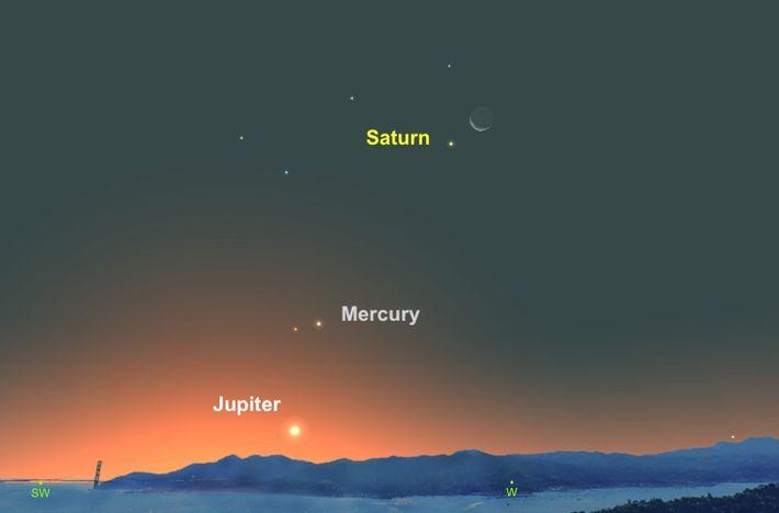Am 11. November wird der Mond über den cremefarbenen Saturn hinwegziehen.