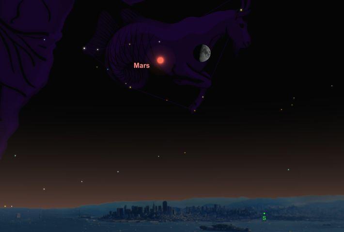Der Mars und der Mond laufen sich am 17. Oktober am Abendhimmel über den Weg.