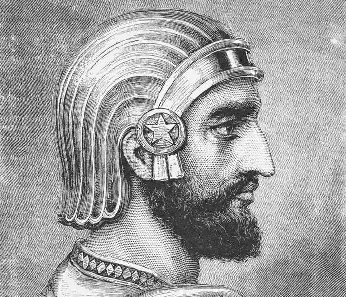 Ein Kupferstich zeigt Kyros den Großen