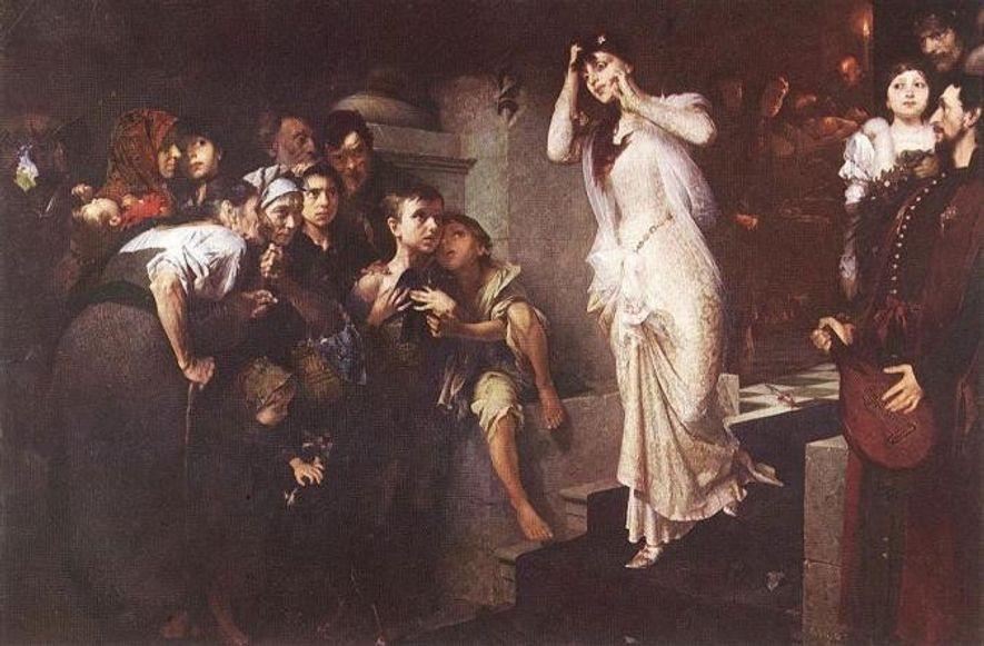 """""""Die Bahrprobe"""", ein Gemälde des ungarischen Künstlers Jenő Gyárfás von 1881, zeigte eine Braut, die schockiert blickt, als sie am Körper ihres Verlobten vorbeigeht, der zu bluten beginnt."""
