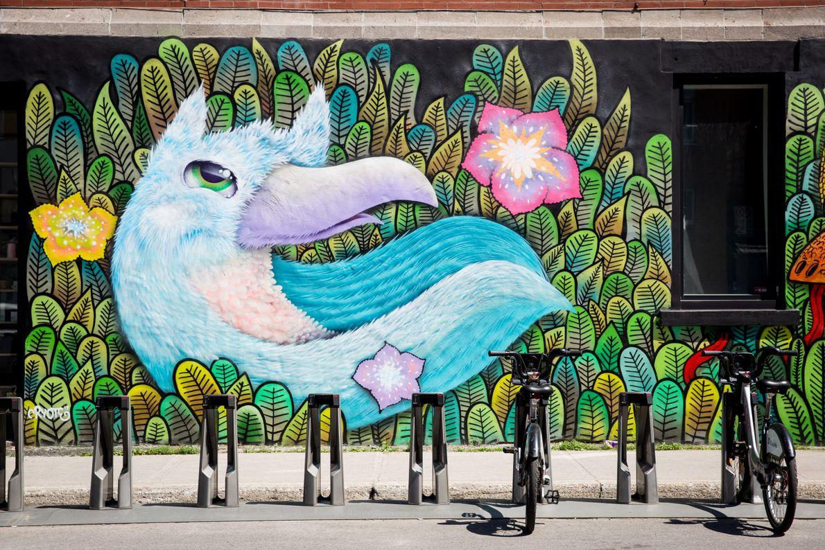 Künstler verschönern Gebäude in ganz Montréal mit ihren Werken.