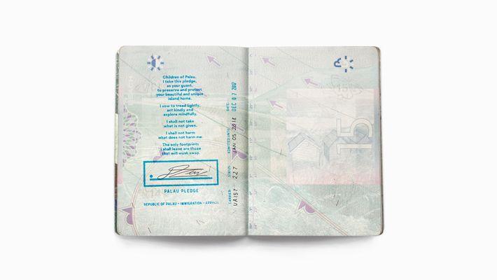 Der Palau Pledge wird mit einem Stempel in den Reisepass eines jeden Besuchers eingetragen.