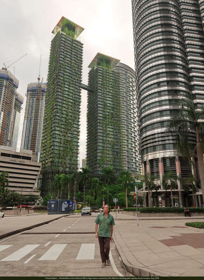 Fast 250 verschiedene Pflanzen wachsen an der 200 Meter hohen Fassade der Le-Nouvel-Towers in Kuala Lumpur.