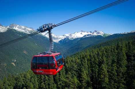 Bei einer Fahrt mit der Luftseilbahn bietet sich ein spektakulärer 360°-Ausblick auf Whistler Village, die Berggipfel, ...