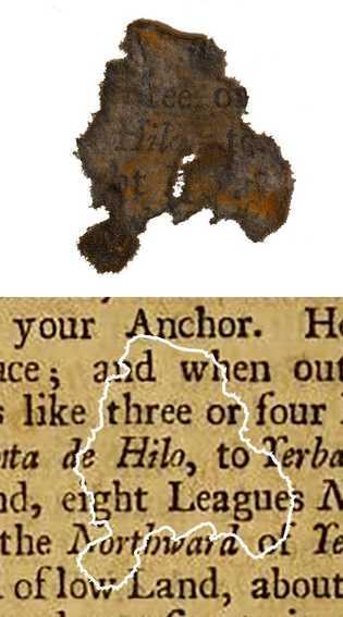 Ein Papierschnipsel von der Queen Anne's Revenge im Vergleich mit der entsprechenden Seite des Buches, aus ...