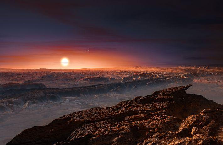 In dieser Illustration fällt das rötliche Licht des Sterns Proxima Centauri auf die Oberfläche des Planeten ...