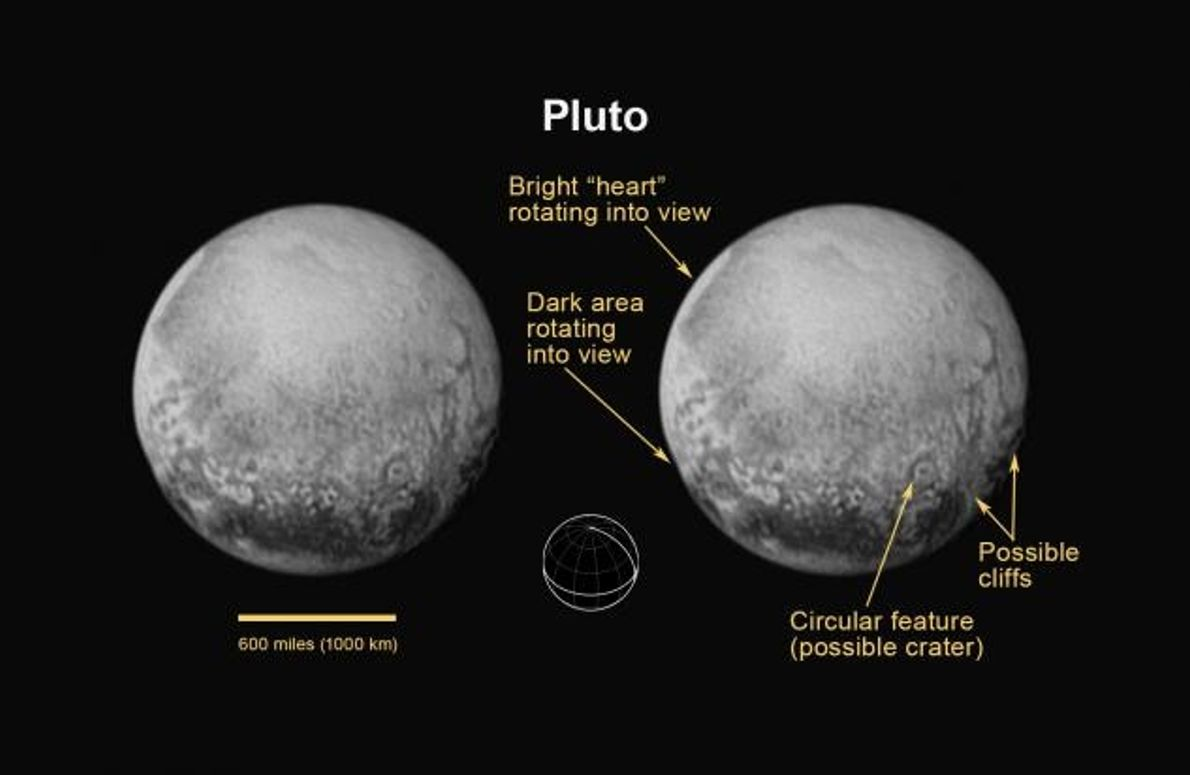 Plutos Nordpol, Äquator und Zentralmeridian