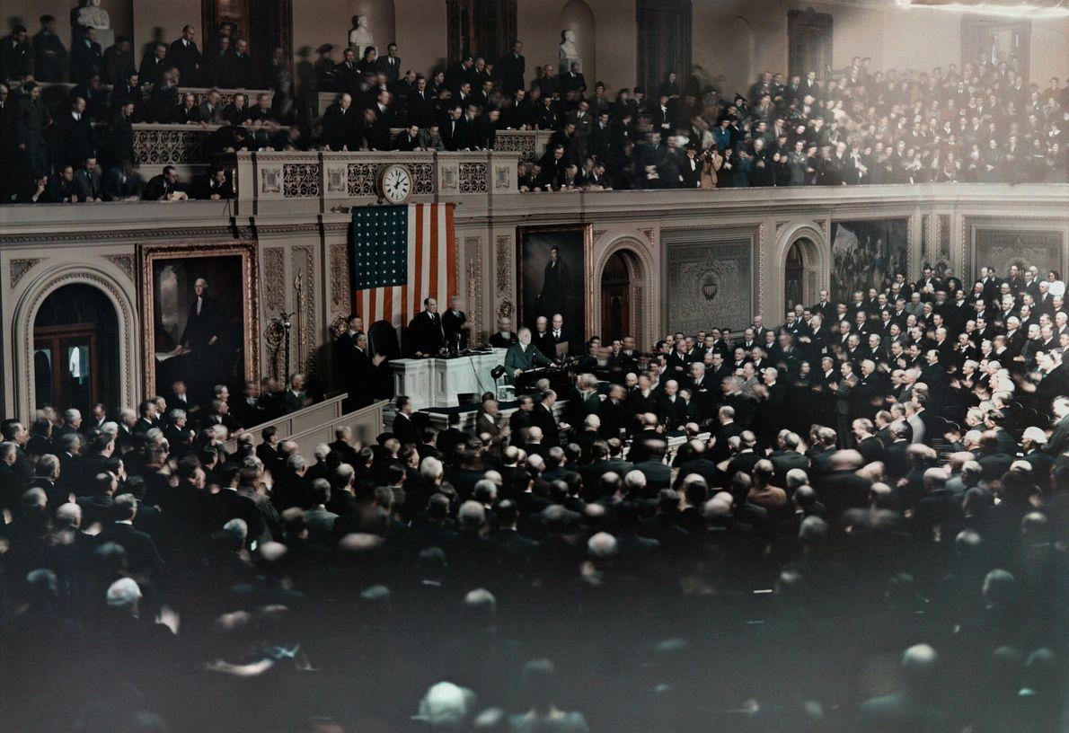 Präsident Franklin Delano Roosevelt verliest seine jährliche Ansprache an die Mitglieder des Kongresses