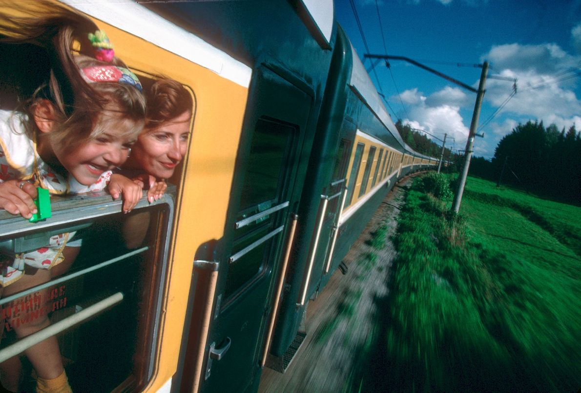 Zugfahrt durch das Uralgebirge