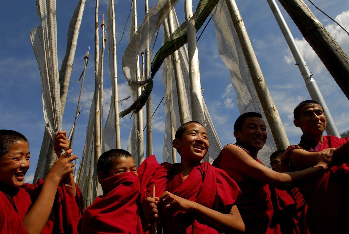 Buddhistische Mönche in Bhutan