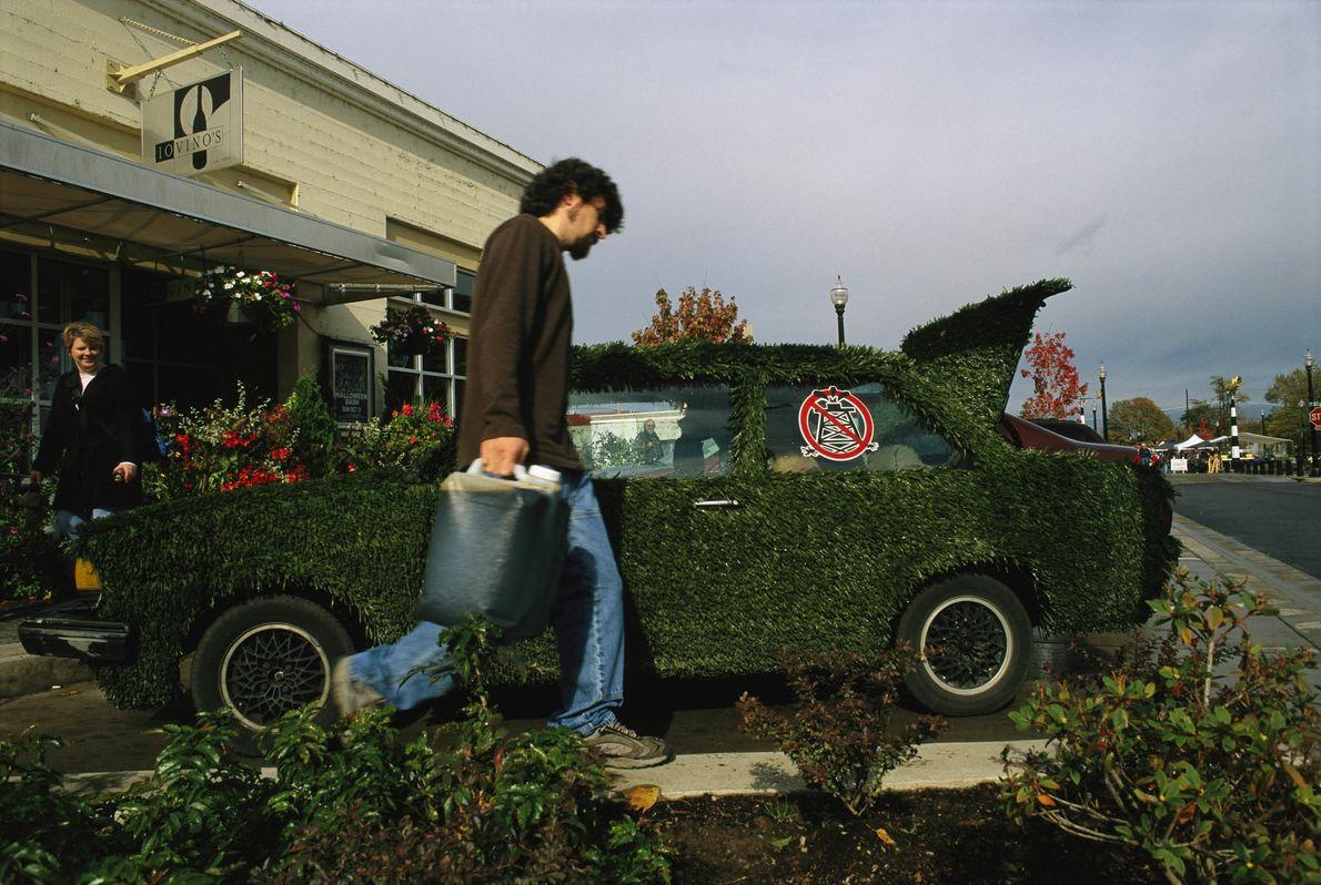 Volkswagen mit Kunstrasen-Verkleidung