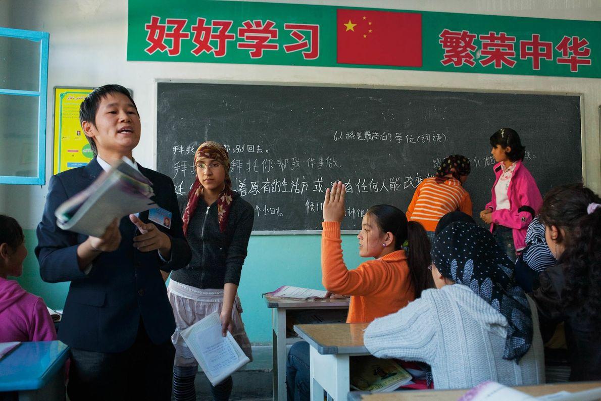 Unterricht un uigurischem Gymnasium in China