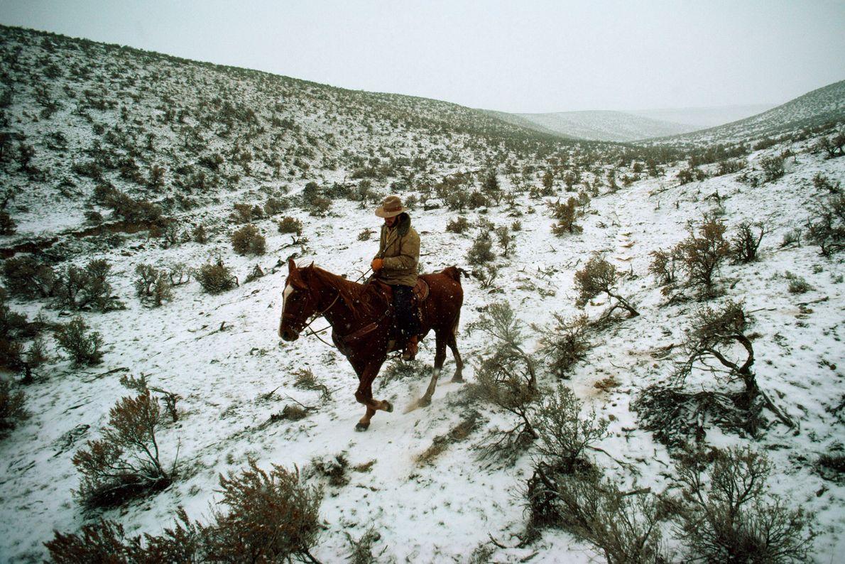 Ein Mann reitet durch eine verschneite Landschaft