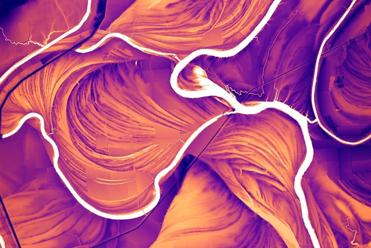 Dieses auf Lidar-Daten basierende Model zeigt die Narben des Saint Francis Rivers in Arkansas. Das Bild ...