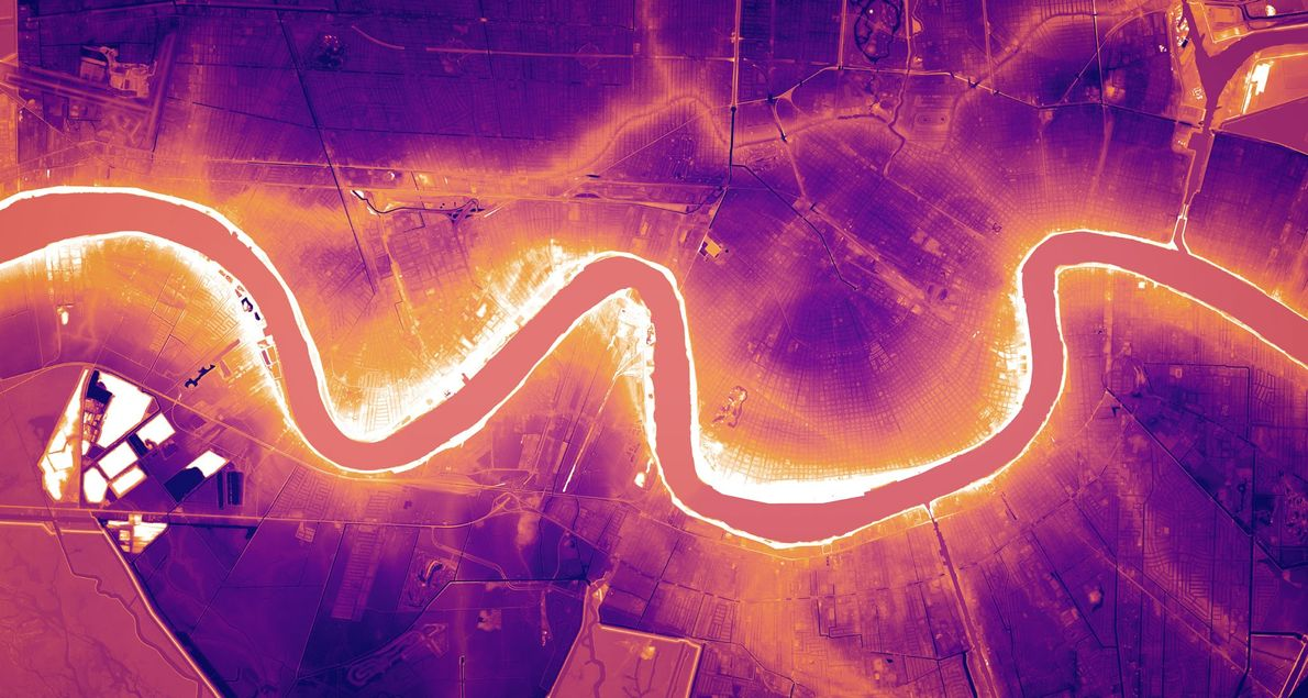 In New Orleans, Louisiana, zeigen die Lidar-Strahlen den faszinierenden Verlauf des Mississippi, dessen Flussbett höher liegt ...