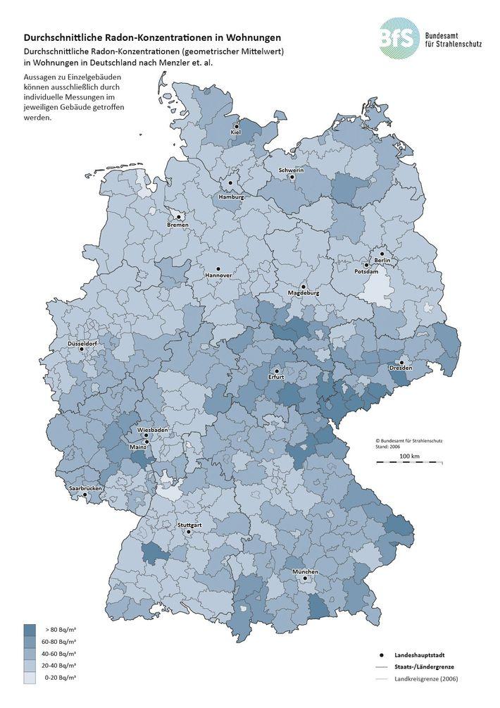Radon-Konzentrationen in Wohnungen. Durchschnittliche Radon-Konzentrationen (geometrischer Mittelwert) in Wohnungen in Deutschland.