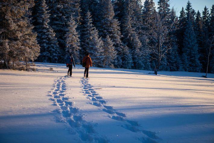 Spuren im Schnee: Der National Geographic-Fotograf Ciril Jazbec und sein Guide Nejc He folgen den Schneeschuh-Trails ...