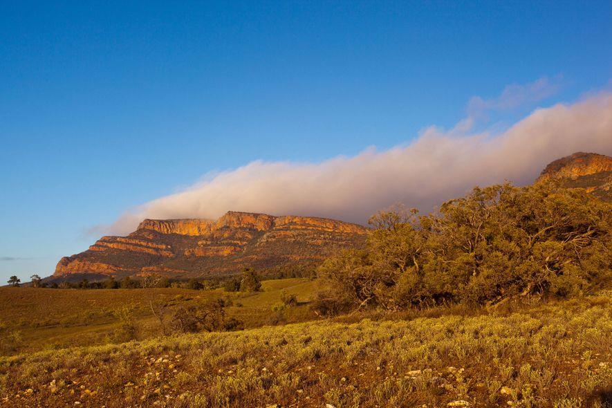 Im australischen Outback scheint die Sonne auf den Rawnsley Bluff Trail und den Aussichtspunkt Wilpena Pound.