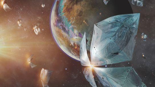 In dieser Illustration der Initiative Breakthrough Starshot sind winzige Raumfahrzeuge auf dem Weg zum Planeten Proxima ...