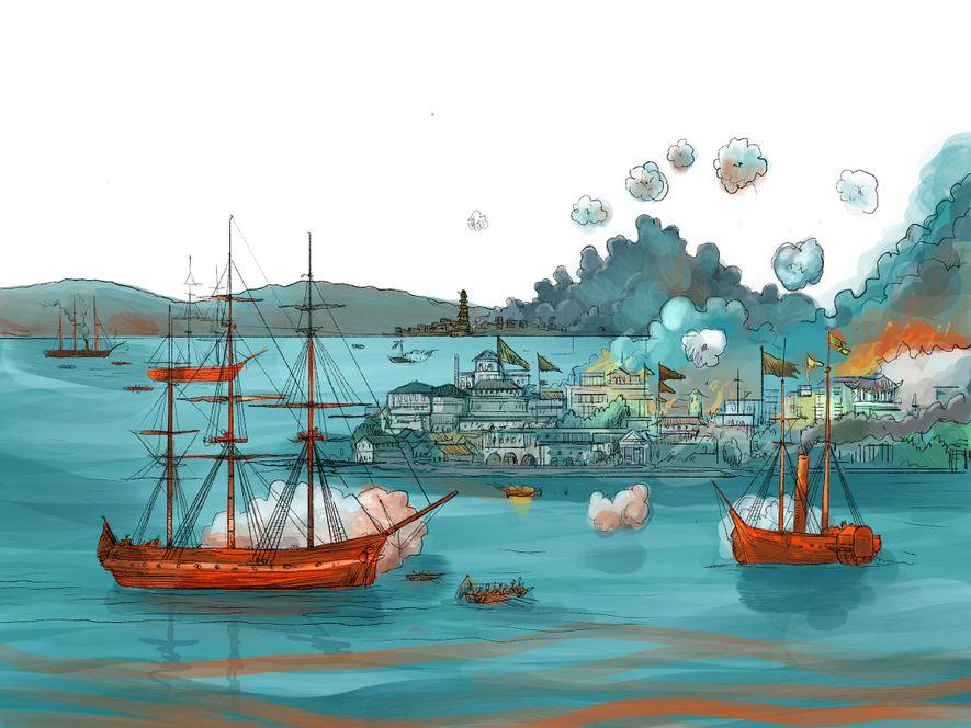 SEPTEMBER 1839-1842: China versucht, gegen den britischen Opiumschmuggel vorzugehen: Illegal eingeführtes Opium wird vernichtet, Schmuggler werden ...