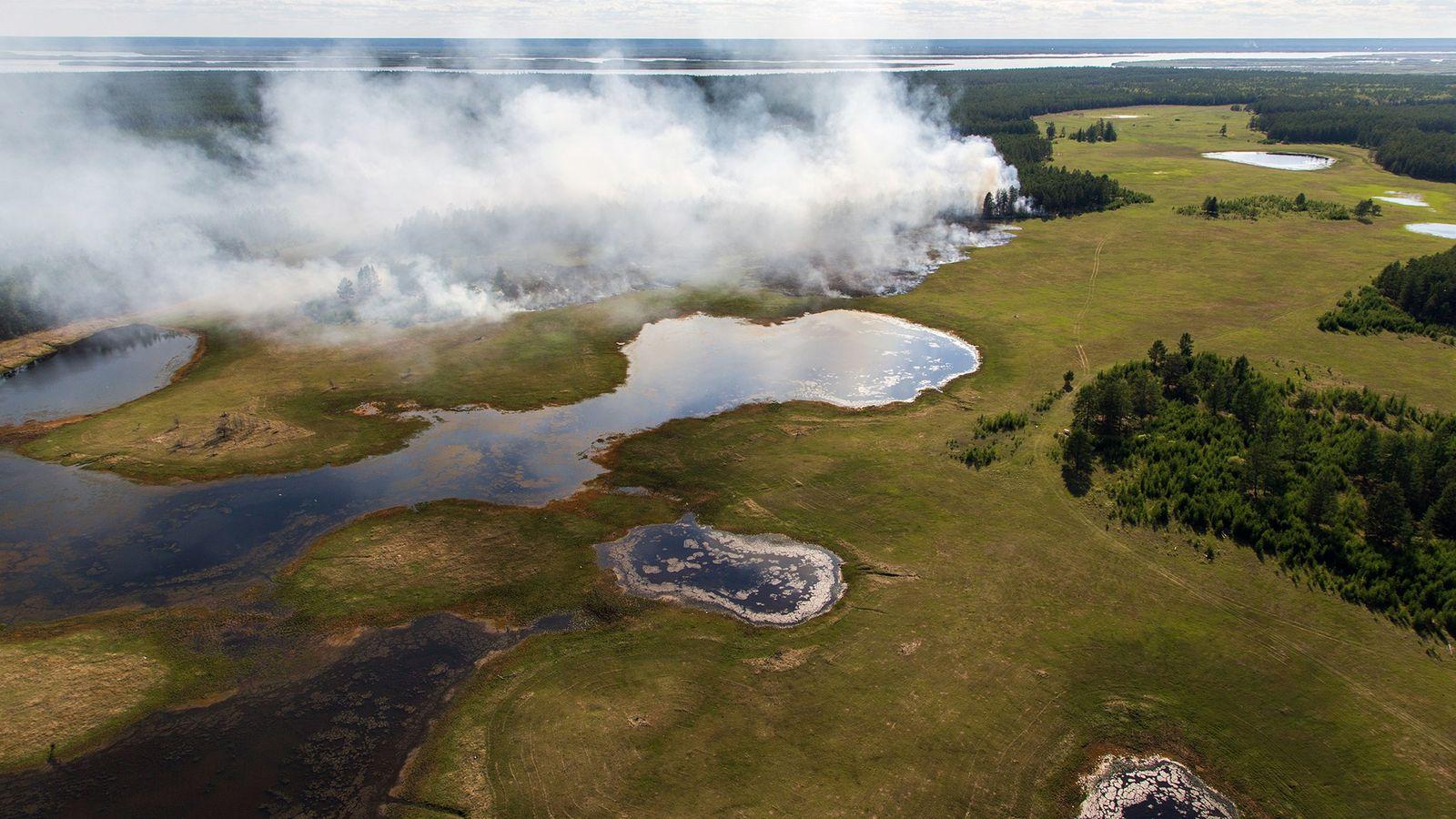 In Sacha, einer der kältesten Regionen Russlands, brennt der Wald. Dieses Gebiet ist zu 83 Prozent ...