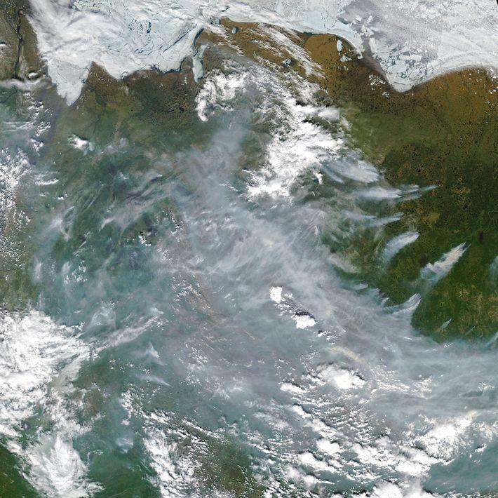 So sehen die Flächenbrände in der sibirischen Tundra aus dem Weltall aus.