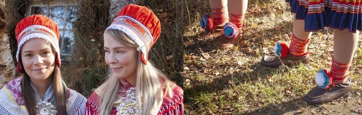 Die Oskal-Schwestern Elin (links) und Anne tragen Gákti, die traditionelle Kleidung der Samen. Das Gewand wurde ...