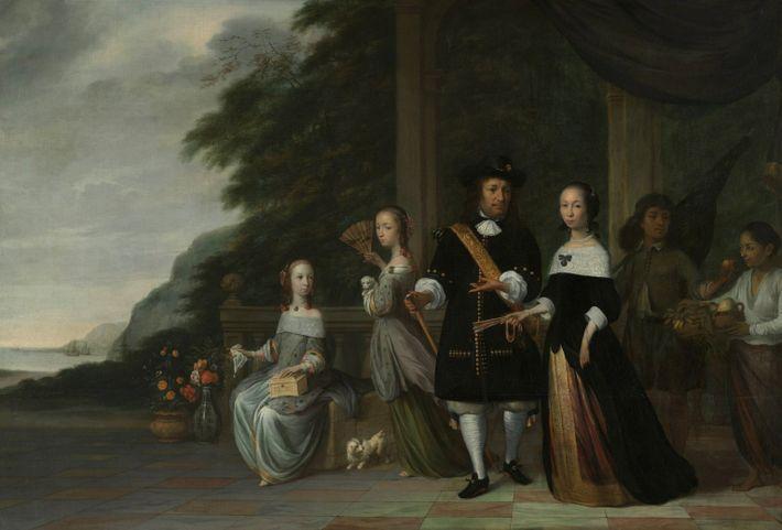 Dieses Gemälde aus dem Jahr 1665 zeigt Pieter Cnoll (Mitte), einen Kaufmann der Niederländischen Ostindien-Kompanie, mit ...
