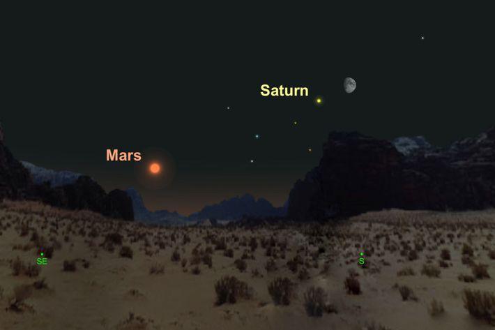 Am 20. August kommen sich der strahlend gelbe Saturn und der zunehmende Dreiviertelmond nahe.