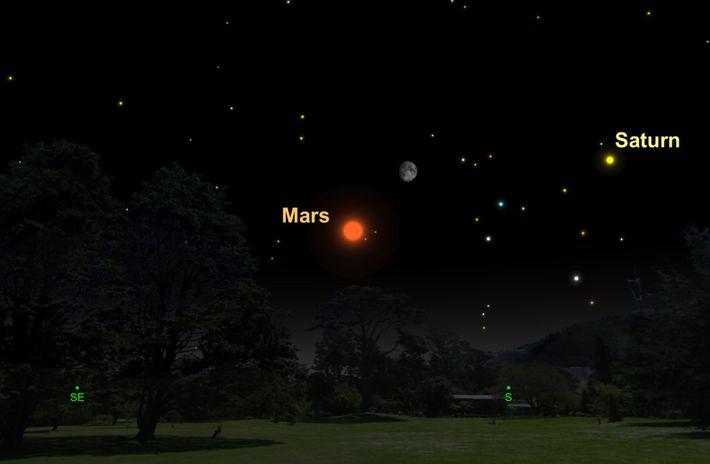 Zwei Nächte lang werden Mond und Mars am Himmel dicht beieinanderstehen.