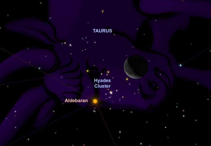 Der orangefarbene Stern Aldebaran trifft am 6. August auf die Sichel des abnehmenden Mondes.