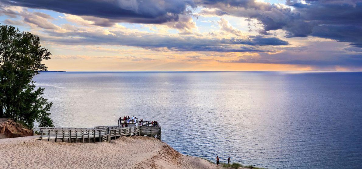 Foto eines malerischen Ausblicks im Sleeping Bear Dunes National Lakeshore, Michigan