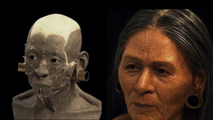 Der Archäologe Oscar Nilsson benötigte 220 Stunden, um das Gesicht der Adeligen in Handarbeit zu rekonstruieren. ...