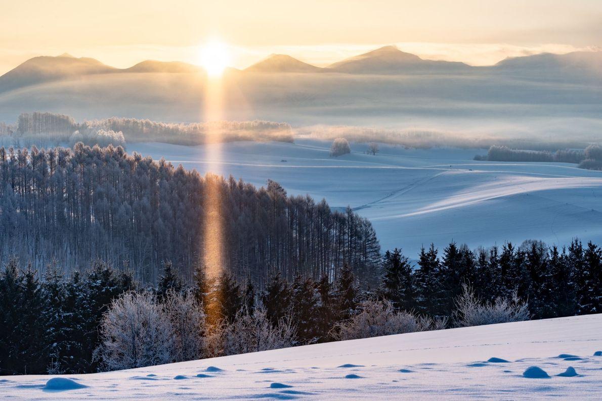 Ein kalter Morgen auf der japanischen Insel Hokkaido