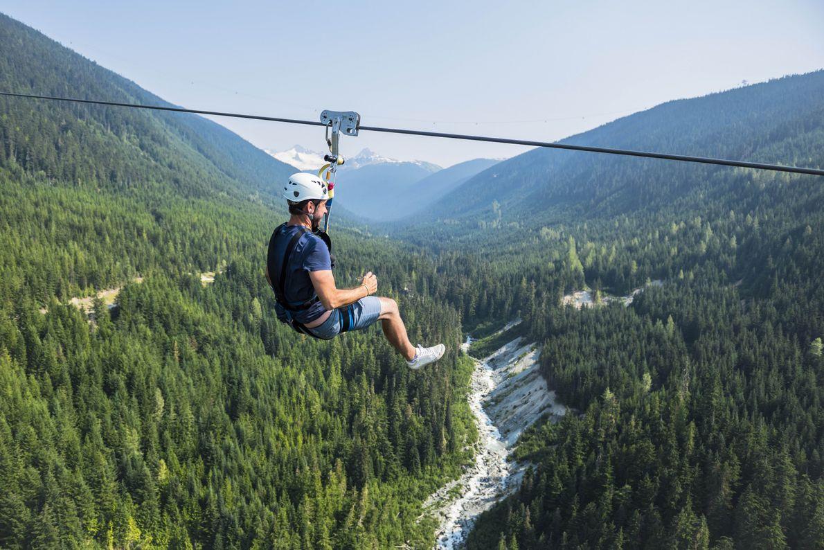 An einer Zipline können Besucher über die spektakulären Täler Whistlers hinweggleiten.