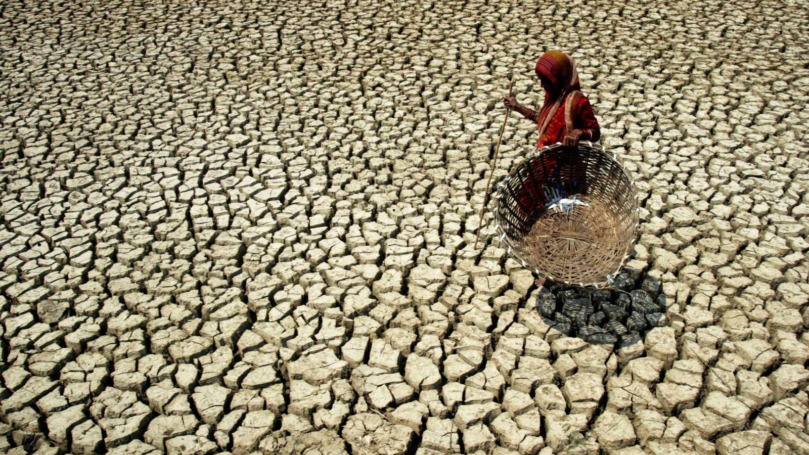 Eine Frau läuft über den ausgetrockneten Boden