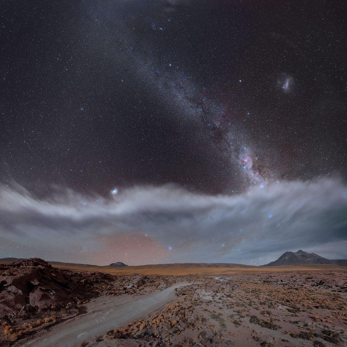 Nahe des Vulkans Miscanti in Chile kann man neben der Großen Magellansche Wolke auch den Jupiter ...