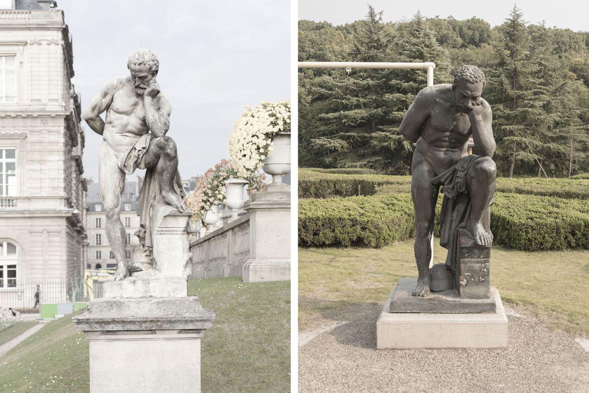 Eine Marmorstatue in Paris (links) diente als Vorbild für eine Statue in Tianducheng (rechts).