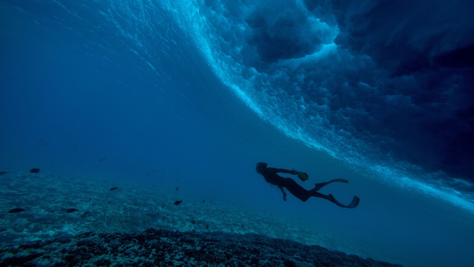 Taucher vor Teahupoo, eine Welle über ihm ist sichtbar.
