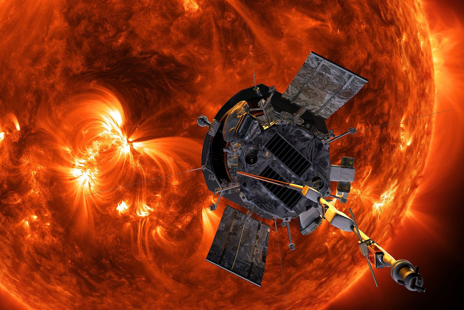 Eine Illustration zeigt die Parker Solar Probe der NASA bei ihrem Anflug an die Sonne.