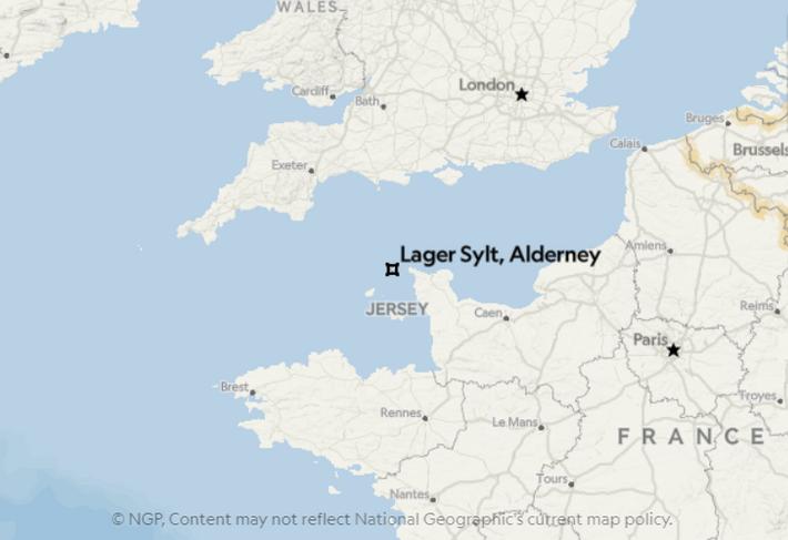Lage der Kanalinsel Alderney.