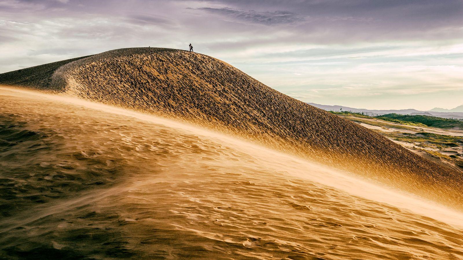 Die Sanddünen in Tottori, Japan.