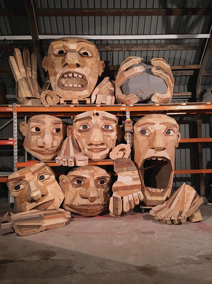 Thomas Dambo premakes the heads for his giant trolls. He later adds them to sculptures he ...