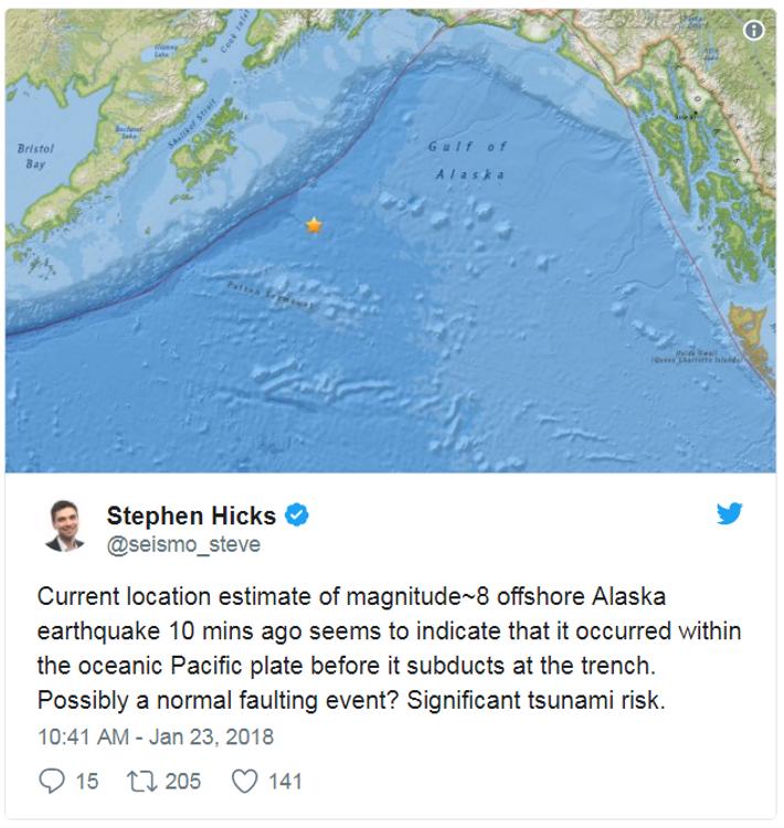 Der Seismologe Stephen Hicks informierte zehn Minuten nach dem Erdbeben auf Twitter darüber, dass die Gefahr ...