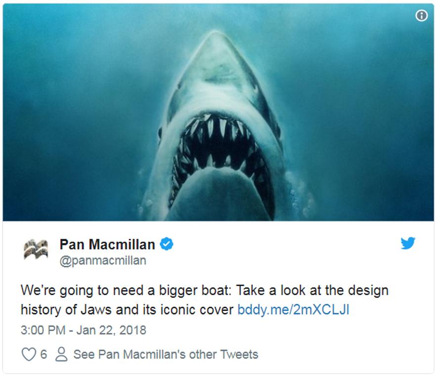"""Pan MacMillan verlinkte einen Beitrag darüber, wie sich das Design des """"Jaws""""-Buchcovers im Laufe der Zeit ..."""