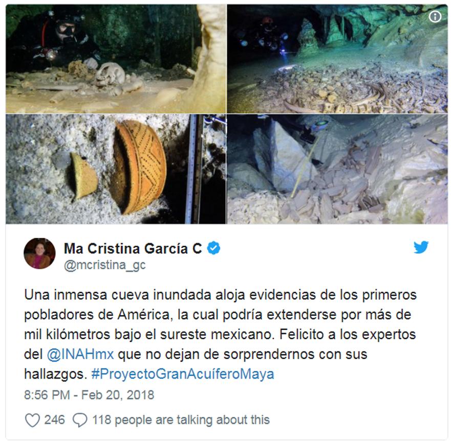 Bilder der Funde aus dem Unterwasser-Höhlensystem San Actun.