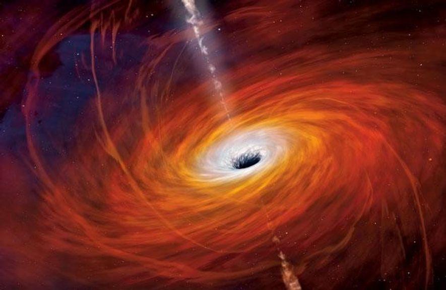 Superheißes Gas wirbelt um Sagittarius A* herum, das Schwarze Loch im Zentrum unserer MIlchstraße, wie es ...
