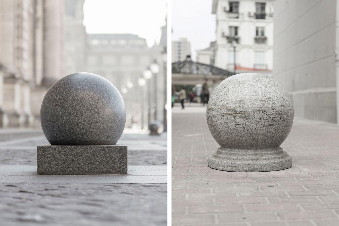 Viele der Straßen von Paris sind mit steinernen Sperren gesäumt (links). Eine Variation dieser Elemente findet ...